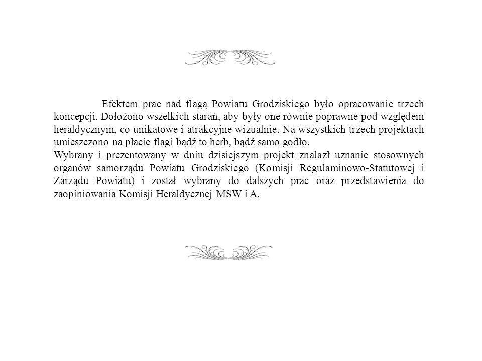 Efektem prac nad flagą Powiatu Grodziskiego było opracowanie trzech koncepcji.