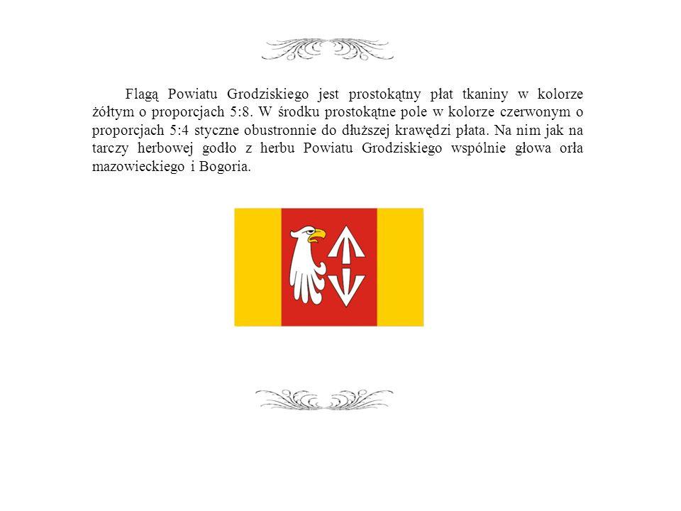 Flagą Powiatu Grodziskiego jest prostokątny płat tkaniny w kolorze żółtym o proporcjach 5:8.