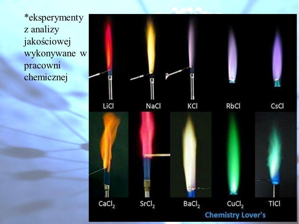 *eksperymenty z analizy jakościowej wykonywane w pracowni chemicznej