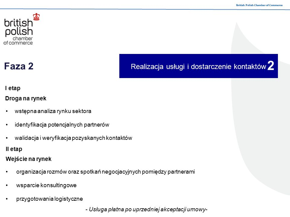 British Polish Chamber of Commerce Faza 3 Analiza i monitorowanie współpracy z partnerem monitorowanie procesów negocjacji oraz ewentualnych utrudnień lub ustaleń zebranie uwag od klientów w celu ulepszanie realizacji usługi 3