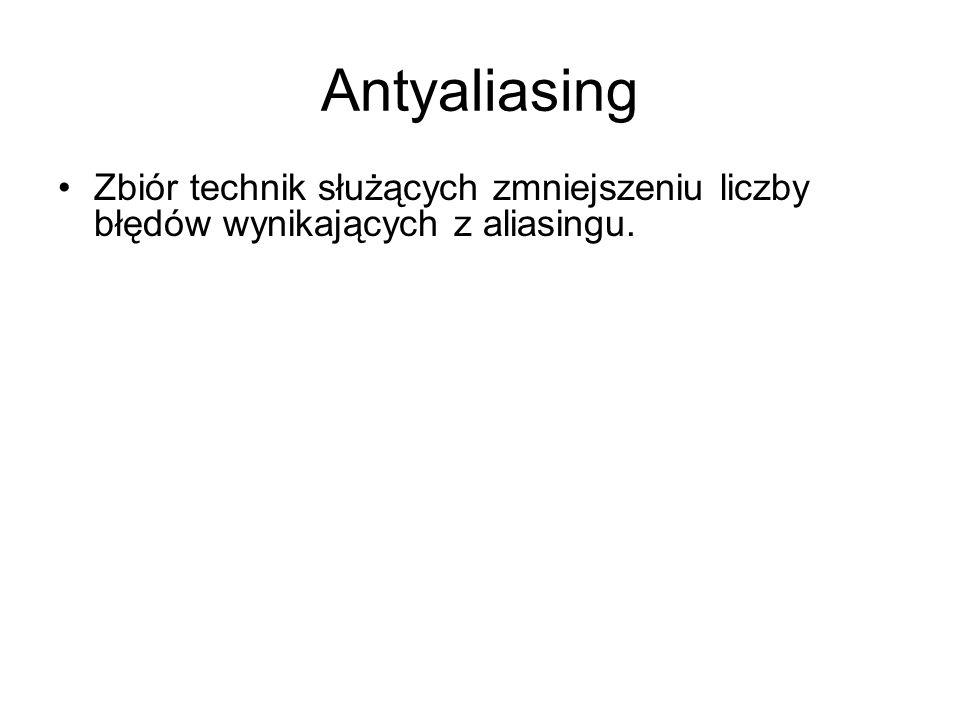 Antyaliasing Zbiór technik służących zmniejszeniu liczby błędów wynikających z aliasingu.