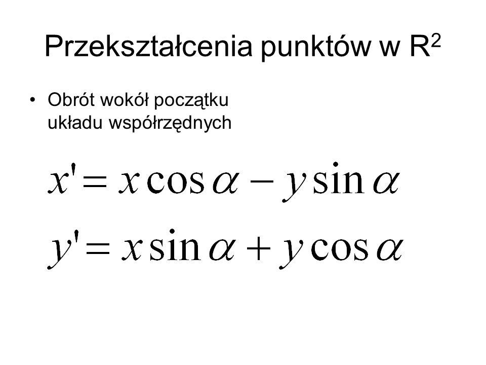 Przekształcenia punktów w R 2 Obrót wokół początku układu współrzędnych
