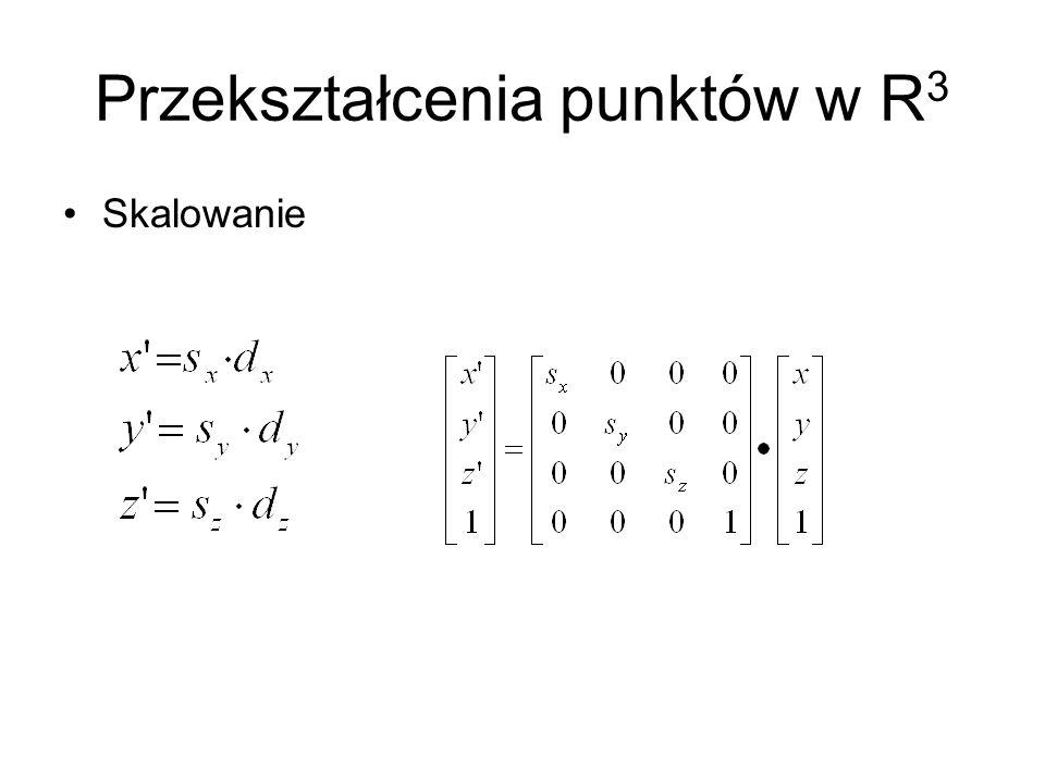 Przekształcenia punktów w R 3 Skalowanie