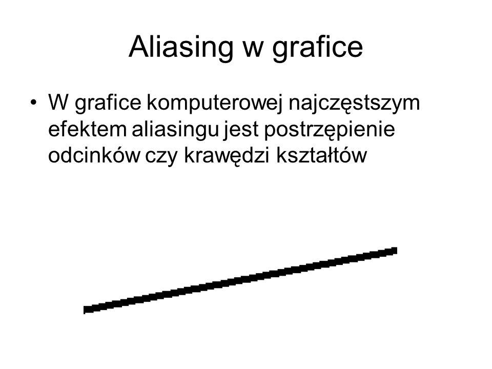 Aliasing w grafice W grafice komputerowej najczęstszym efektem aliasingu jest postrzępienie odcinków czy krawędzi kształtów