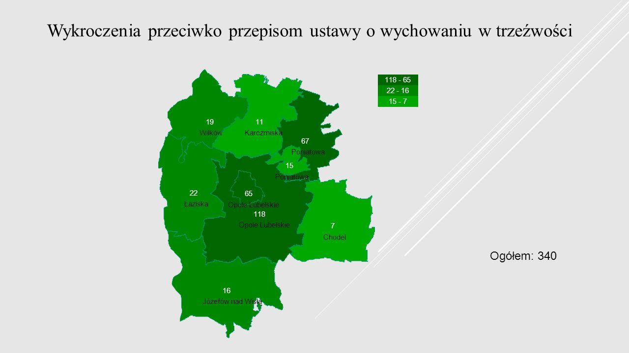 Wykroczenia przeciwko przepisom ustawy o wychowaniu w trzeźwości Chodel Józefów nad Wisłą Karczmiska Łaziska Opole Lubelskie Poniatowa Wilków 118 - 65