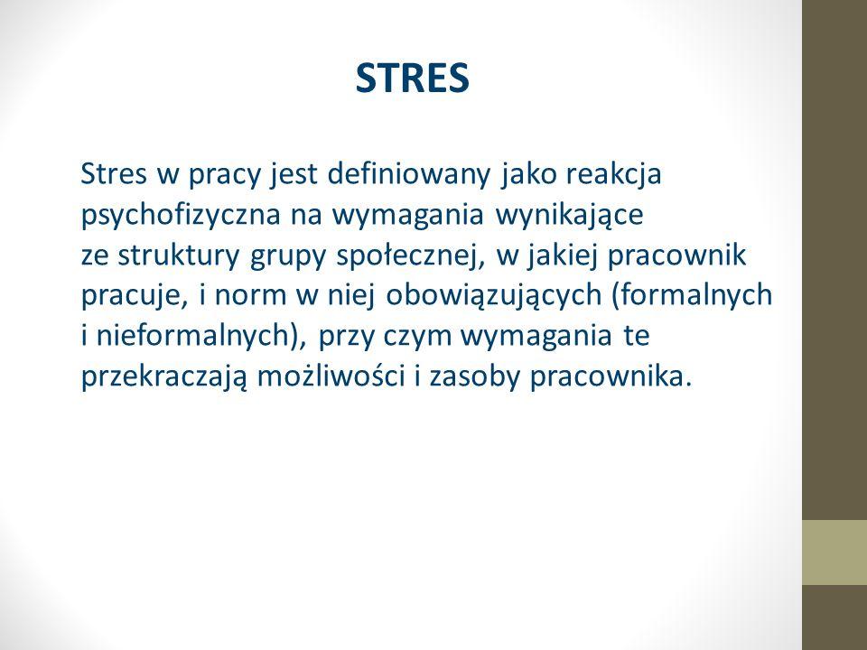 STRES Stres w pracy jest definiowany jako reakcja psychofizyczna na wymagania wynikające ze struktury grupy społecznej, w jakiej pracownik pracuje, i norm w niej obowiązujących (formalnych i nieformalnych), przy czym wymagania te przekraczają możliwości i zasoby pracownika.