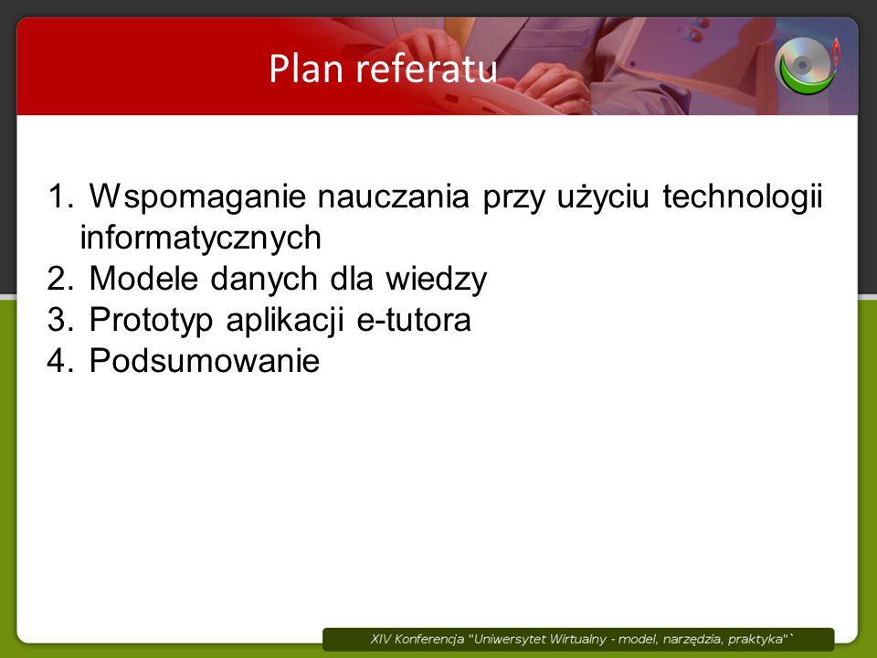 Plan referatu 1. Wspomaganie nauczania przy użyciu technologii informatycznych 2.