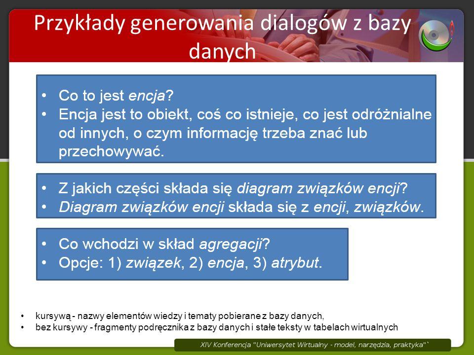 Elementy wiedzy są składnikami tematów Przykłady generowania dialogów z bazy danych kursywą - nazwy elementów wiedzy i tematy pobierane z bazy danych, bez kursywy - fragmenty podręcznika z bazy danych i stałe teksty w tabelach wirtualnych