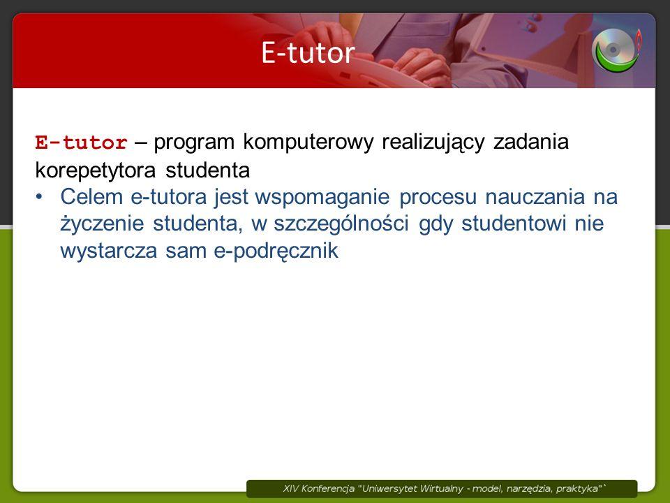 E-tutor E-tutor – program komputerowy realizujący zadania korepetytora studenta Celem e-tutora jest wspomaganie procesu nauczania na życzenie studenta, w szczególności gdy studentowi nie wystarcza sam e-podręcznik