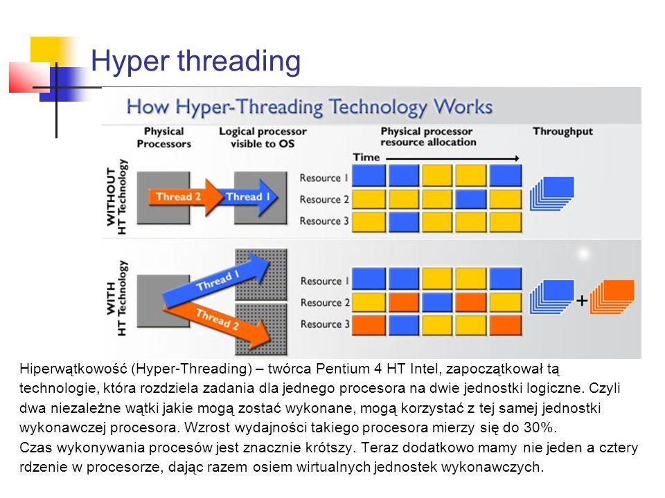 Hyper threading Hiperwątkowość (Hyper-Threading) – twórca Pentium 4 HT Intel, zapoczątkował tą technologie, która rozdziela zadania dla jednego procesora na dwie jednostki logiczne.