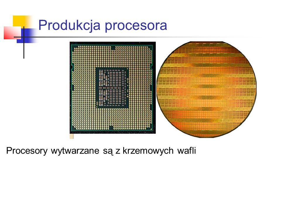 Produkcja procesora Procesory wytwarzane są z krzemowych wafli