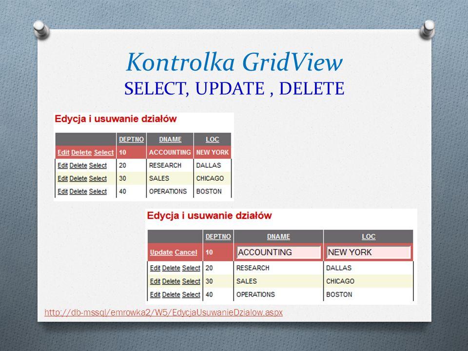 Kontrolka GridView SELECT, UPDATE, DELETE http://db-mssql/emrowka2/W5/EdycjaUsuwanieDzialow.aspx