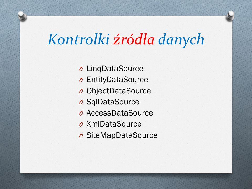 Kontrolki źródła danych O LinqDataSource O EntityDataSource O ObjectDataSource O SqlDataSource O AccessDataSource O XmlDataSource O SiteMapDataSource
