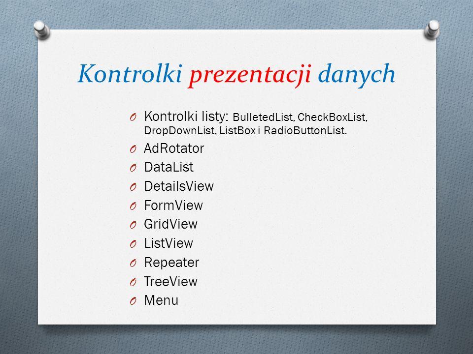 Kontrolki prezentacji danych O Kontrolki listy: BulletedList, CheckBoxList, DropDownList, ListBox i RadioButtonList. O AdRotator O DataList O DetailsV