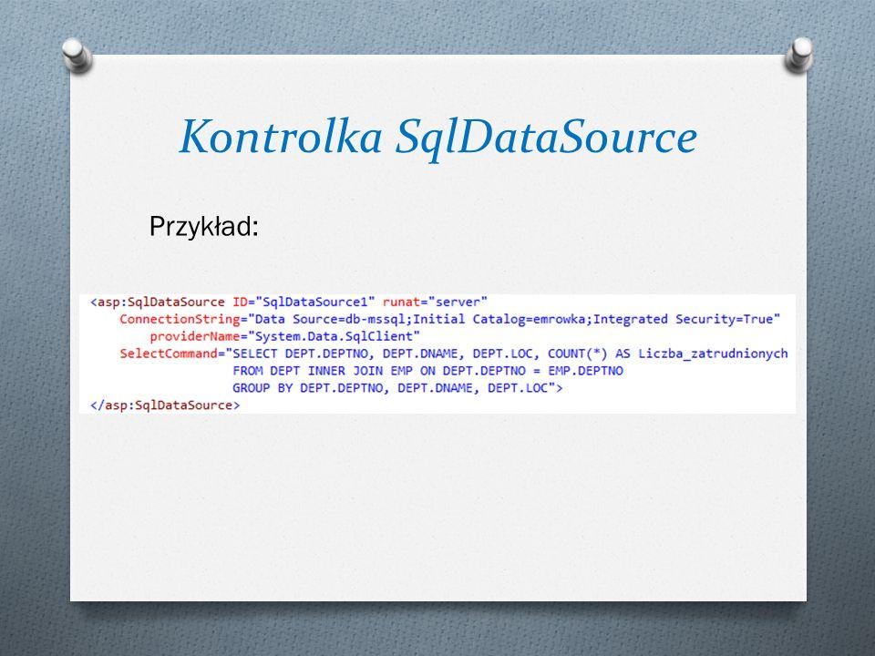 """Kontrolka SqlDataSource ConnectionString Łańcuch połączenia wygodnie jest umieścić w pliku konfiguracyjnym aplikacji Web.config w bloku np.: <add name=""""sxxxxxxConnectionString connectionString= Data Source=DB-MSSQL; Initial Catalog=sxxxxxx; Integrated Security=True providerName= System.Data.SqlClient />"""