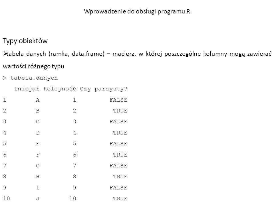 Przykład: test χ 2 – wprowadzenie danych przy pomocy wektorów > dawka1=c(10, 48, 35, 10, 6) > dawka2=c(38, 90, 20, 12, 8) > dawka3=c(96, 55, 10, 6, 5) Wprowadzenie do obsługi programu R