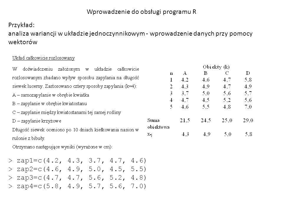 Wprowadzenie do obsługi programu R Przykład: analiza wariancji w układzie jednoczynnikowym - wprowadzenie danych przy pomocy wektorów > zap1=c(4.2, 4.3, 3.7, 4.7, 4.6) > zap2=c(4.6, 4.9, 5.0, 4.5, 5.5) > zap3=c(4.7, 4.7, 5.6, 5.2, 4.8) > zap4=c(5.8, 4.9, 5.7, 5.6, 7.0) > dane1 = data.frame(wyniki=c(zap1, zap2, zap3, zap4),zapylenie=rep(1:4,each=5))