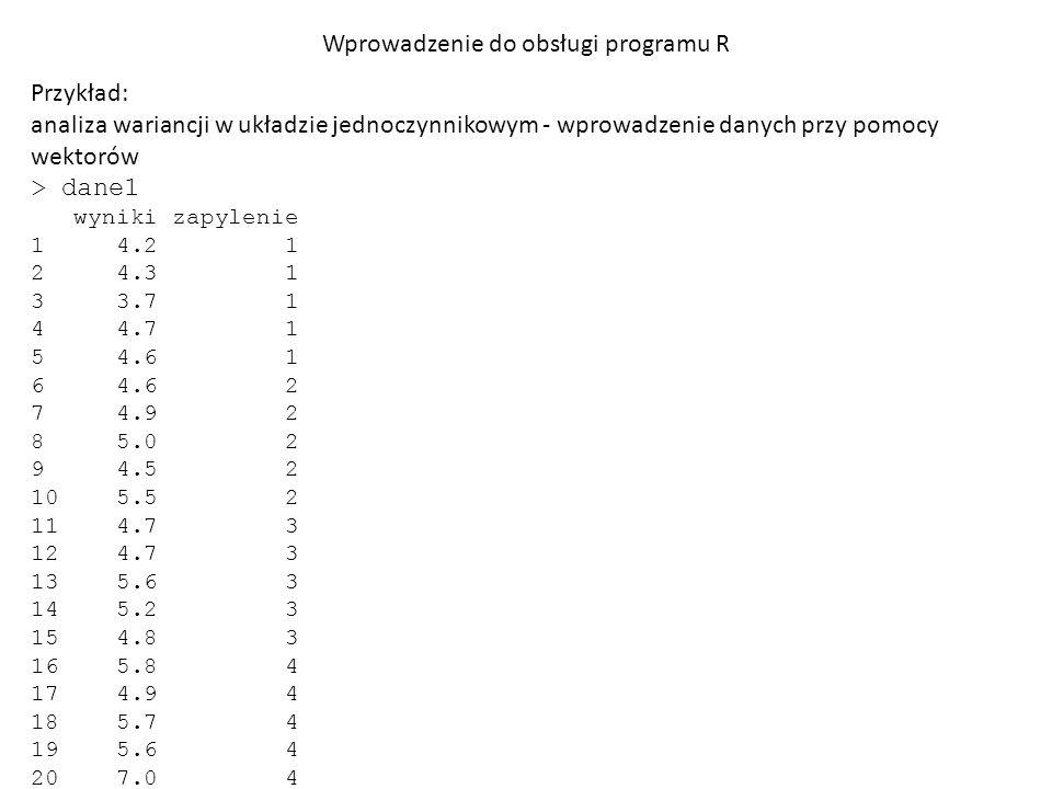 Wprowadzenie do obsługi programu R Przykład: analiza wariancji w układzie jednoczynnikowym - wprowadzenie danych przy pomocy wektorów I etap – ocena jednorodności wariancji testem Bartletta > bartlett.test(wyniki~zapylenie, dane1) Bartlett test of homogeneity of variances data: wyniki by zapylenie Bartlett s K-squared = 2.7463, df = 3, p-value = 0.4324
