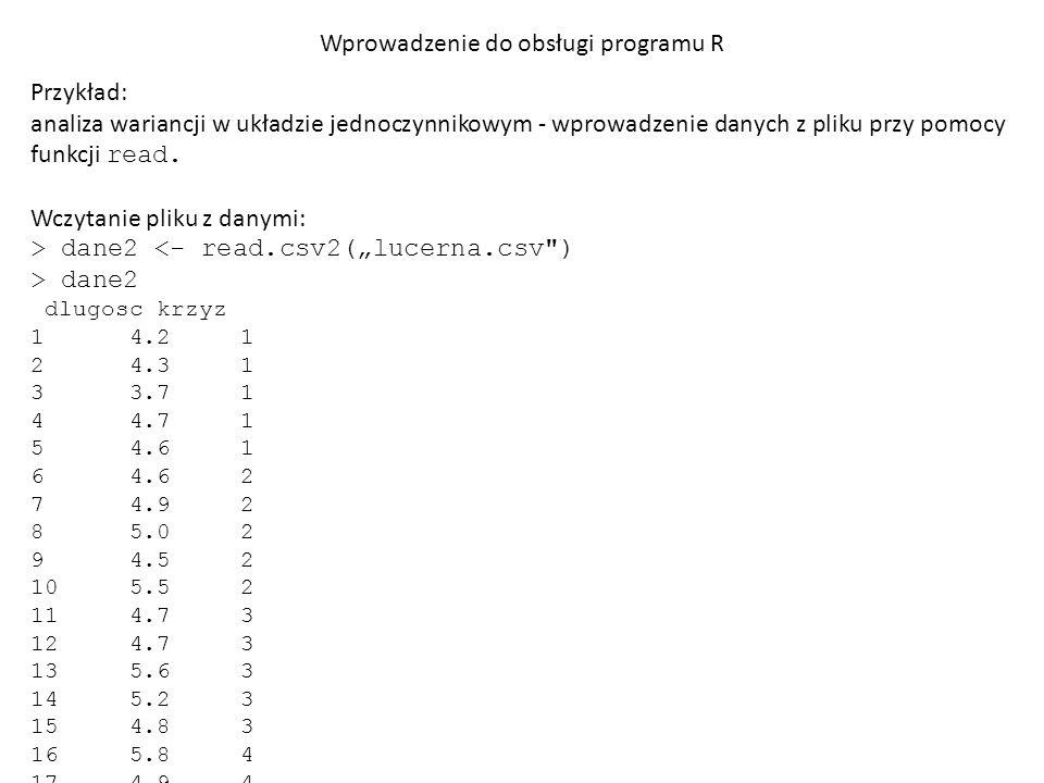 Wprowadzenie do obsługi programu R Przykład: analiza wariancji w układzie jednoczynnikowym - wprowadzenie danych z pliku przy pomocy funkcji read.