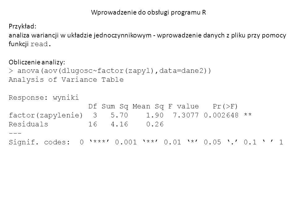 """Wprowadzenie do obsługi programu R Przykład: analiza wariancji w układzie dwuczynnikowym Przygotowanie pliku: po odpowiednim ułożeniu danych w arkuszu kalkulacyjnym należy zapisać plik jako """"kukurydza.csv"""