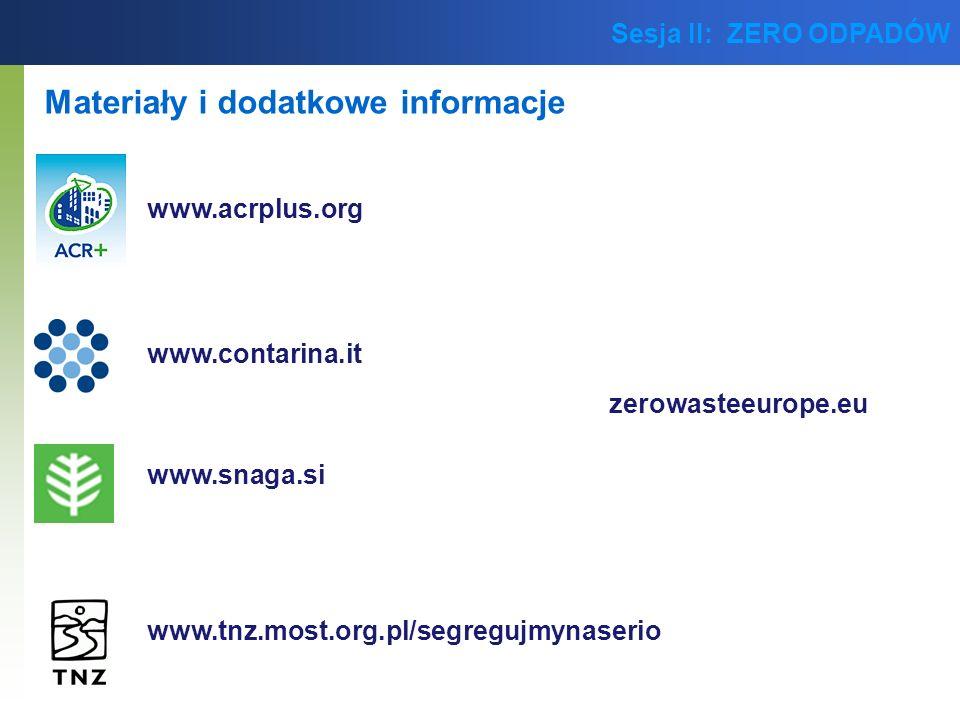 Sesja II: ZERO ODPADÓW Materiały i dodatkowe informacje www.acrplus.org www.tnz.most.org.pl/segregujmynaserio zerowasteeurope.eu www.contarina.it www.