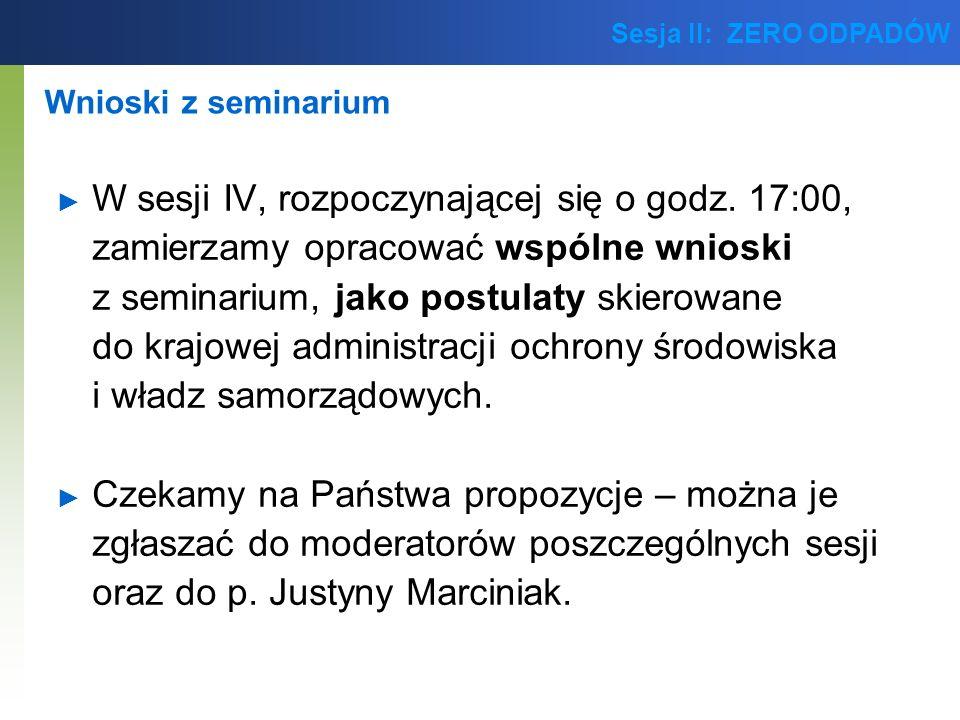 Sesja II: ZERO ODPADÓW Kontynuacja dyskusji nt.