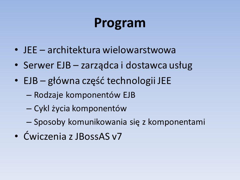 Program JEE – architektura wielowarstwowa Serwer EJB – zarządca i dostawca usług EJB – główna część technologii JEE – Rodzaje komponentów EJB – Cykl życia komponentów – Sposoby komunikowania się z komponentami Ćwiczenia z JBossAS v7