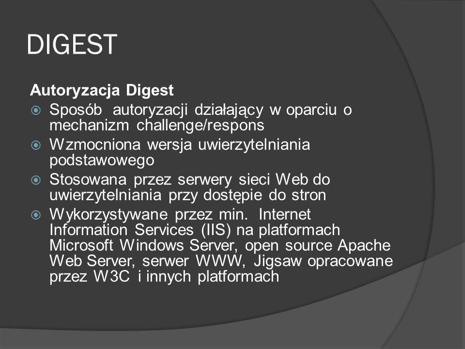 DIGEST Autoryzacja Digest  Sposób autoryzacji działający w oparciu o mechanizm challenge/respons  Wzmocniona wersja uwierzytelniania podstawowego  Stosowana przez serwery sieci Web do uwierzytelniania przy dostępie do stron  Wykorzystywane przez min.