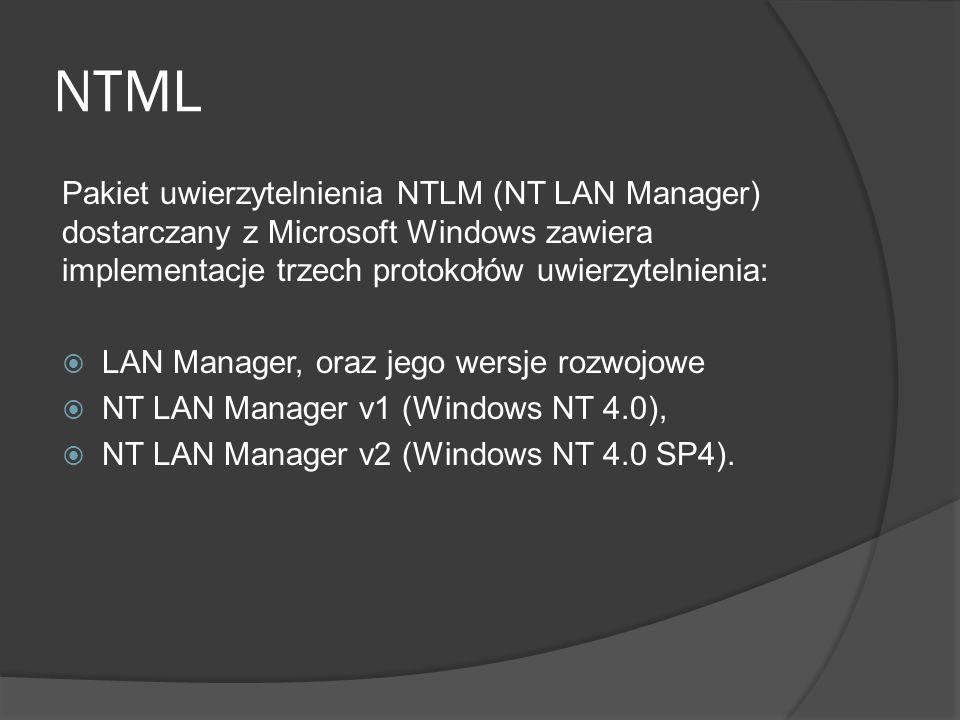 NTML Pakiet uwierzytelnienia NTLM (NT LAN Manager) dostarczany z Microsoft Windows zawiera implementacje trzech protokołów uwierzytelnienia:  LAN Manager, oraz jego wersje rozwojowe  NT LAN Manager v1 (Windows NT 4.0),  NT LAN Manager v2 (Windows NT 4.0 SP4).