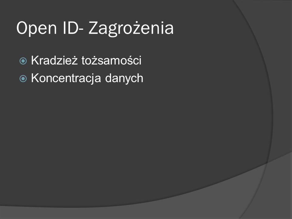 Open ID- Zagrożenia  Kradzież tożsamości  Koncentracja danych