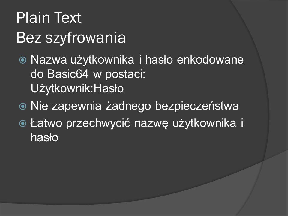 Plain Text Bez szyfrowania  Nazwa użytkownika i hasło enkodowane do Basic64 w postaci: Użytkownik:Hasło  Nie zapewnia żadnego bezpieczeństwa  Łatwo przechwycić nazwę użytkownika i hasło