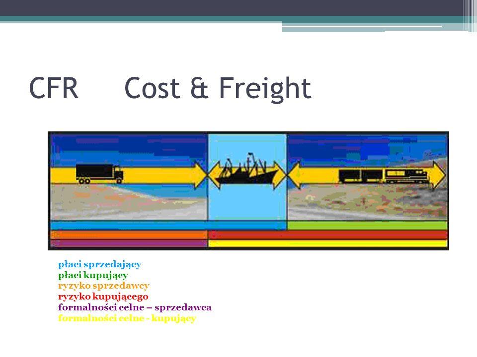CFRCost & Freight płaci sprzedający płaci kupujący ryzyko sprzedawcy ryzyko kupującego formalności celne – sprzedawca formalności celne - kupujący