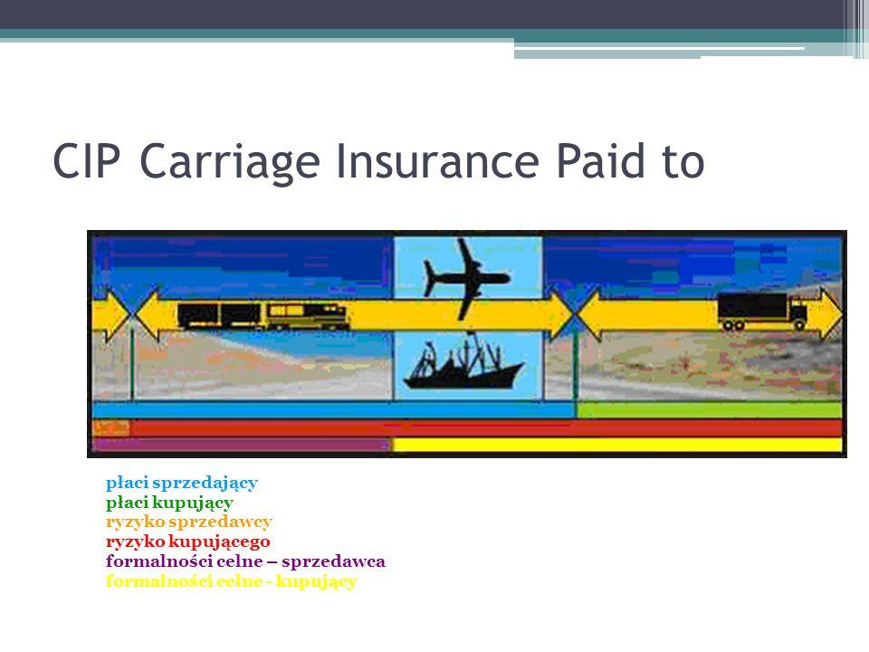 CIPCarriage Insurance Paid to płaci sprzedający płaci kupujący ryzyko sprzedawcy ryzyko kupującego formalności celne – sprzedawca formalności celne - kupujący