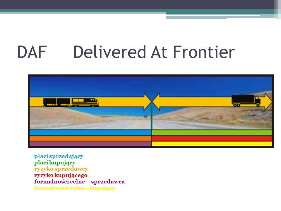 DAFDelivered At Frontier płaci sprzedający płaci kupujący ryzyko sprzedawcy ryzyko kupującego formalności celne – sprzedawca formalności celne - kupujący