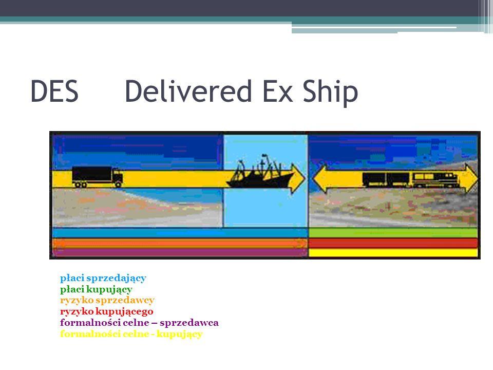 DES Delivered Ex Ship płaci sprzedający płaci kupujący ryzyko sprzedawcy ryzyko kupującego formalności celne – sprzedawca formalności celne - kupujący