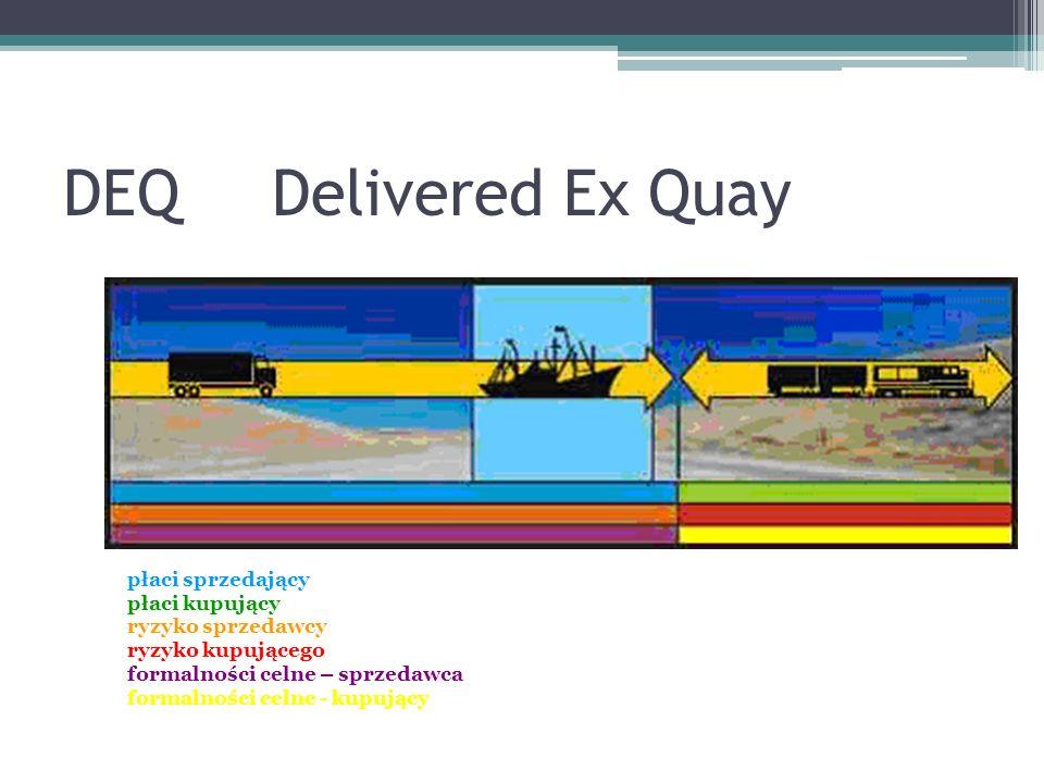 DEQDelivered Ex Quay płaci sprzedający płaci kupujący ryzyko sprzedawcy ryzyko kupującego formalności celne – sprzedawca formalności celne - kupujący