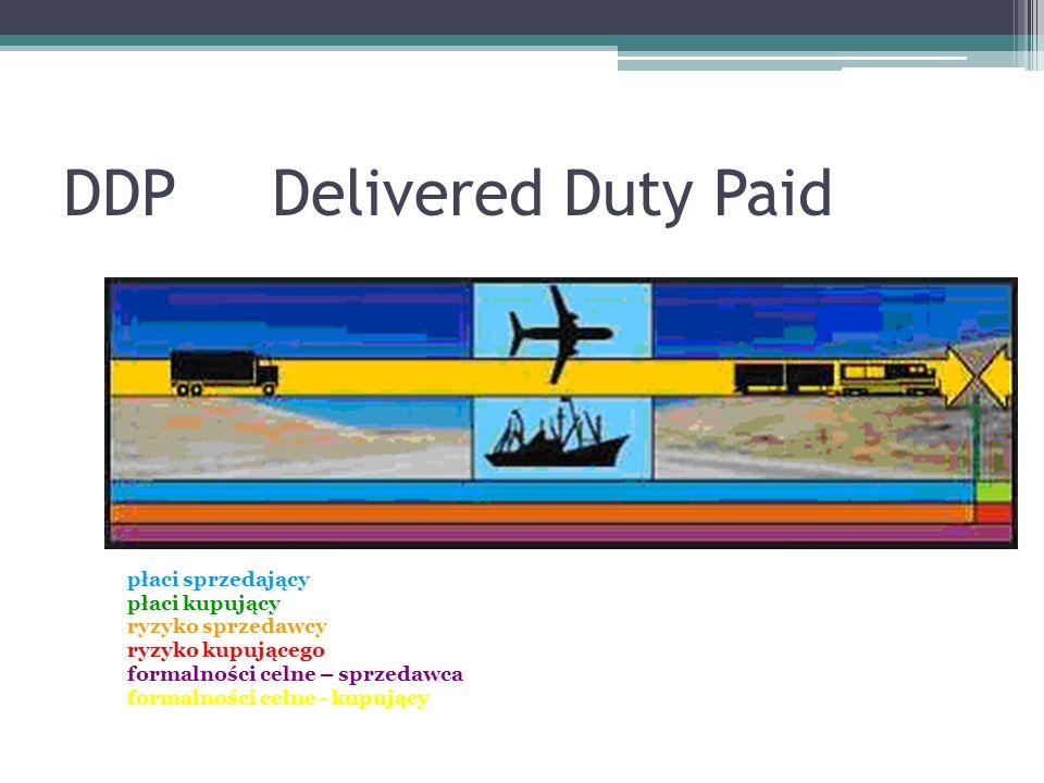 DDPDelivered Duty Paid płaci sprzedający płaci kupujący ryzyko sprzedawcy ryzyko kupującego formalności celne – sprzedawca formalności celne - kupujący