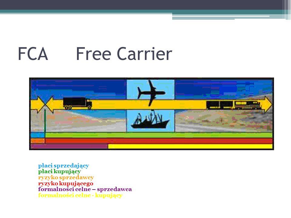 FCAFree Carrier płaci sprzedający płaci kupujący ryzyko sprzedawcy ryzyko kupującego formalności celne – sprzedawca formalności celne - kupujący