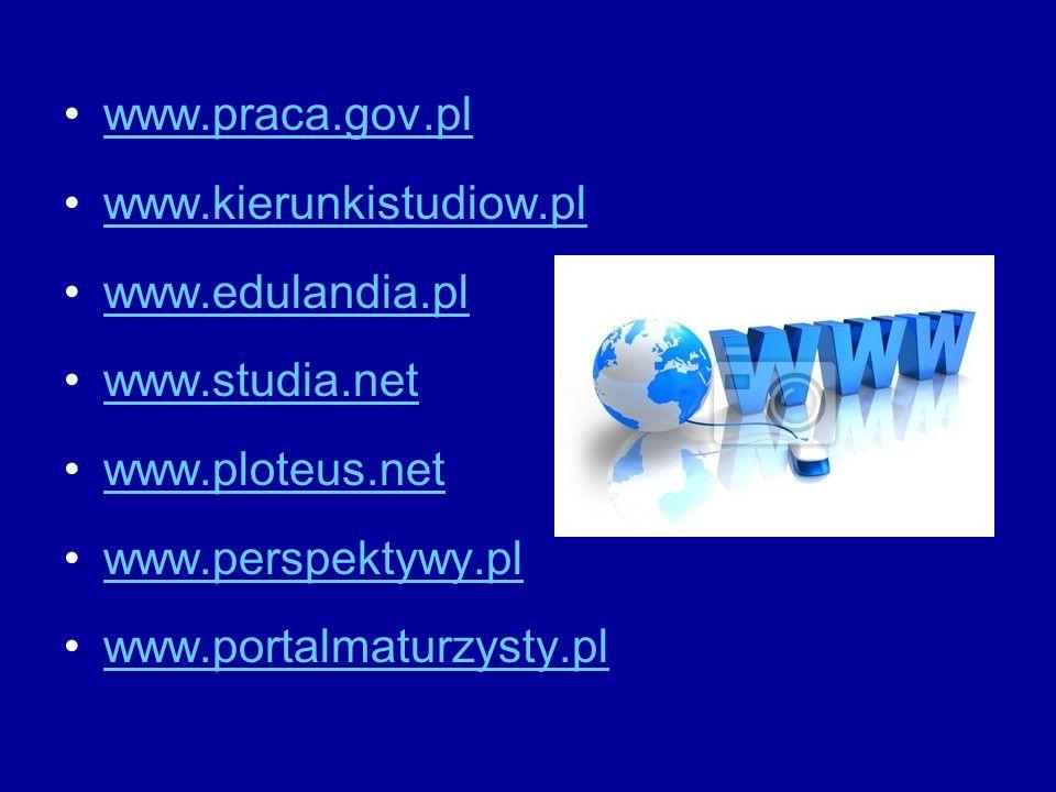 www.praca.gov.pl www.kierunkistudiow.pl www.edulandia.pl www.studia.net www.ploteus.net www.perspektywy.pl www.portalmaturzysty.pl