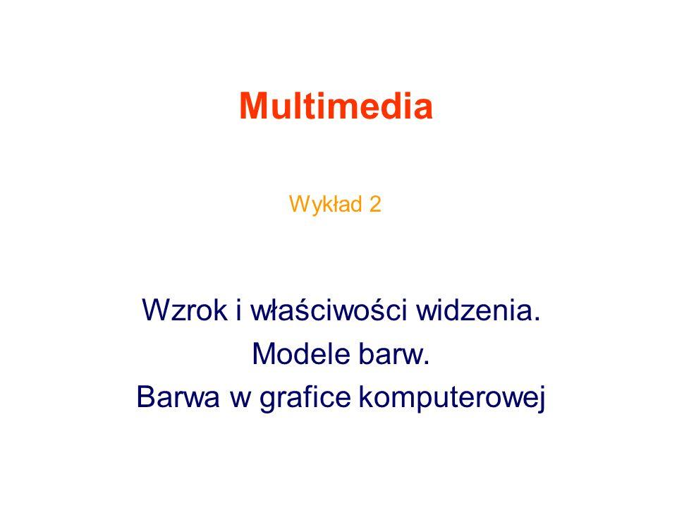 Multimedia Wzrok i właściwości widzenia. Modele barw. Barwa w grafice komputerowej Wykład 2