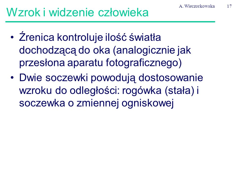 A. Wieczorkowska17 Wzrok i widzenie człowieka Źrenica kontroluje ilość światła dochodzącą do oka (analogicznie jak przesłona aparatu fotograficznego)