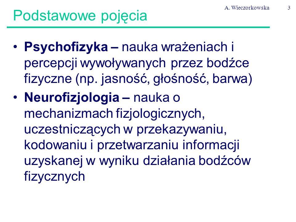 A. Wieczorkowska3 Psychofizyka – nauka wrażeniach i percepcji wywoływanych przez bodźce fizyczne (np. jasność, głośność, barwa) Neurofizjologia – nauk