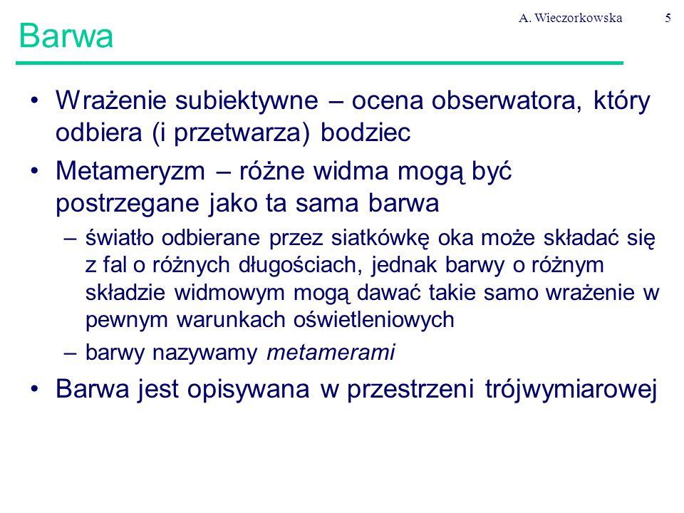 A. Wieczorkowska5 Barwa Wrażenie subiektywne – ocena obserwatora, który odbiera (i przetwarza) bodziec Metameryzm – różne widma mogą być postrzegane j