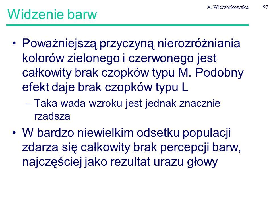 A. Wieczorkowska57 Widzenie barw Poważniejszą przyczyną nierozróżniania kolorów zielonego i czerwonego jest całkowity brak czopków typu M. Podobny efe