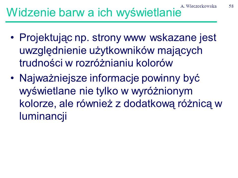 A. Wieczorkowska58 Widzenie barw a ich wyświetlanie Projektując np. strony www wskazane jest uwzględnienie użytkowników mających trudności w rozróżnia