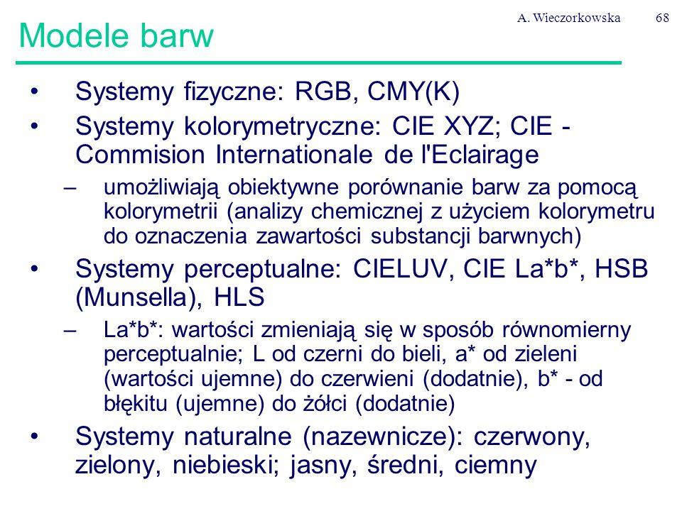 A. Wieczorkowska68 Modele barw Systemy fizyczne: RGB, CMY(K) Systemy kolorymetryczne: CIE XYZ; CIE - Commision Internationale de l'Eclairage –umożliwi