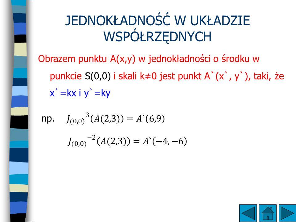 JEDNOKŁADNOŚĆ W UKŁADZIE WSPÓŁRZĘDNYCH Obrazem punktu A(x,y) w jednokładności o środku w punkcie S(0,0) i skali k≠0 jest punkt A`(x`, y`), taki, że x`=kx i y`=ky