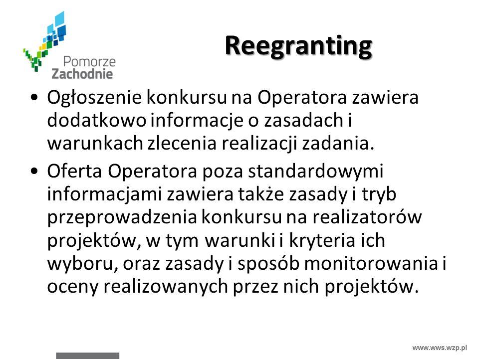 Reegranting Ogłoszenie konkursu na Operatora zawiera dodatkowo informacje o zasadach i warunkach zlecenia realizacji zadania. Oferta Operatora poza st