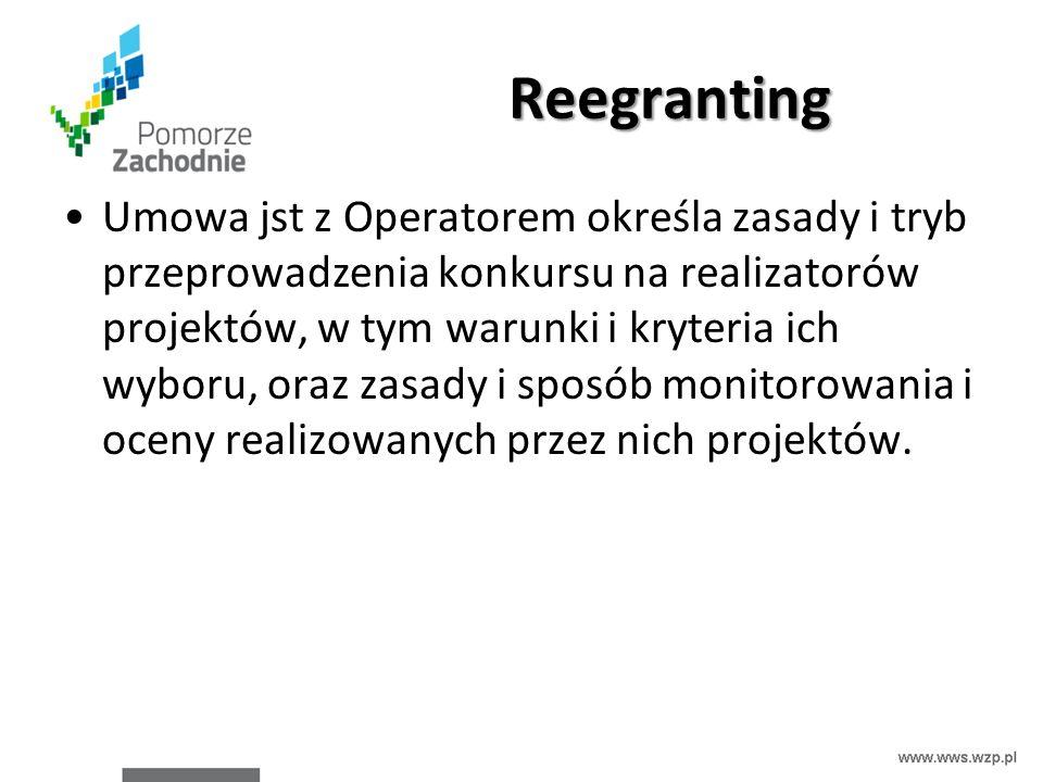 Reegranting Umowa jst z Operatorem określa zasady i tryb przeprowadzenia konkursu na realizatorów projektów, w tym warunki i kryteria ich wyboru, oraz zasady i sposób monitorowania i oceny realizowanych przez nich projektów.