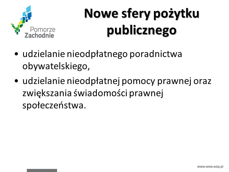 Nowe sfery pożytku publicznego udzielanie nieodpłatnego poradnictwa obywatelskiego, udzielanie nieodpłatnej pomocy prawnej oraz zwiększania świadomośc